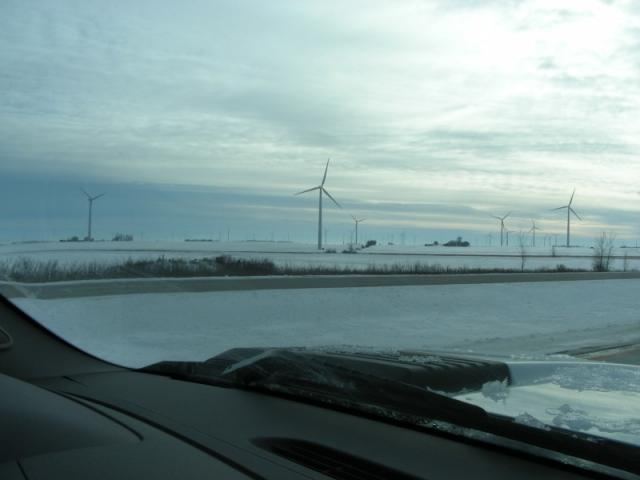 This wind farm has about 100 big windmills