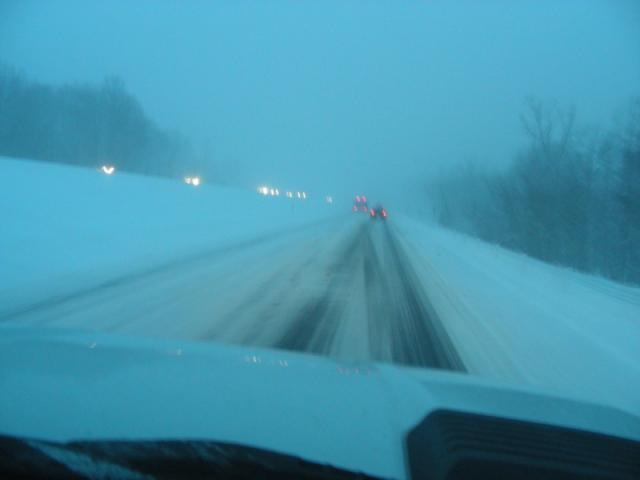 More snow and snow on road